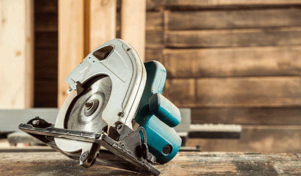 circular saw on a wooden table